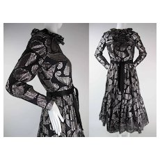 1960's Vintage Ceil Chapman Black And Silver Silk Lamé Cocktail Dress