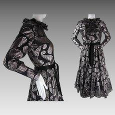 1960's Vintage Ceil Chapman Black And Silver Silk Lamé Cocktail Dress