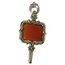 Antique Victorian 14K Gold Watch Fob & Key With Snakeskin Carnelian