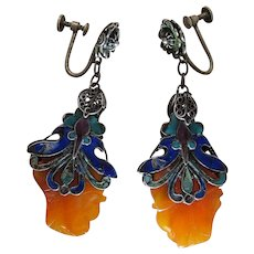 Antique Chinese Enameled Silver And Carved Carnelian Earrings With Screwbacks