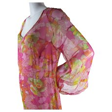 1970's Vintage Silk Chiffon Maxi Dress With Full Underdress And Bell Sleeves