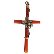 Antique Victorian Sardinian Red Coral Cross With 14k Gold Mount and Ornaments