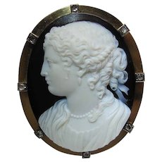 Outstanding Large 18K Gold Signed Antique Hardstone Cameo Brooch With Rose Cut Diamonds
