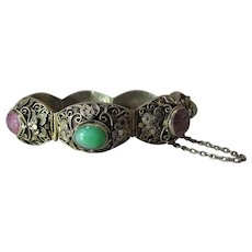 Antique Chinese Silver Vermeil Filigree, Pink Tourmaline And Green Jade Bracelet