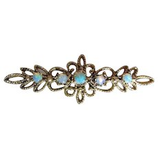 Vintage 14k Yellow Gold Opal Pin