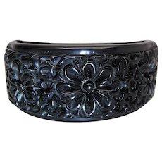 Vintage Black Bakelite Clamper Bracelet