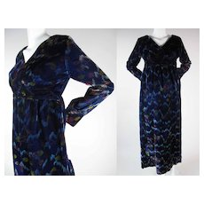 Lovely 1970's High Waisted Velveteen Maxi Dress With Painterly Print