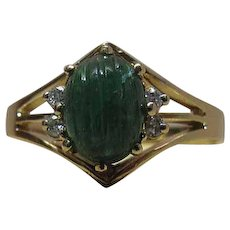 Vintage 14K Gold Carved Natural Emerald And Diamond Ring