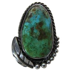 Vintage Signed Navajo Sterling Silver And Fine Turquoise Ring