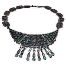Extraordinary Vintage Mexican Sterling Silver, Turquoise, Coral And Amethyst Pectoral Necklace
