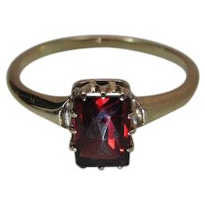 Vintage 10K Yellow Gold 1.4 Carat Rose Cut Bohemian Garnet Ring