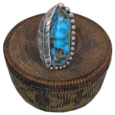 Vintage Sterling Silver And Fine Turquoise Ring