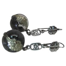 Antique 1 3/4-Inch Long 14-mm Pools Of Light French Wire Earrings With Floral Wraps