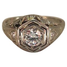 Sumptuous Art Deco 20K White Gold Three Diamond Ring Signed JS & Co.