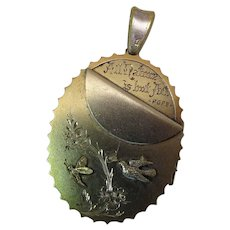 Exceptional Antique Gold Washed Silver Locket With Birds And Butterflies Dated 1879