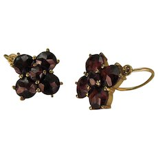 Antique Victorian 8K Gold Rose Cut Bohemian Garnet Lever Back Earrings
