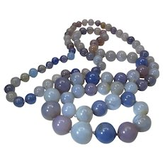 Gorgeous Art Deco Era 38 Inch Graduated Strand Of Translucent Chalcedony / Banded Agate Beads