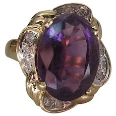 Vintage 14K Gold Amethyst And Diamond Cocktail Ring