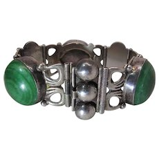 1940's Mexican Sterling Silver And Onyx Bracelet Signed J.P.