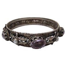Antique Austro Hungarian Silver, Amethyst And Cultured Pearl 8 1/2-Inch Bangle Bracelet