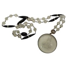 Art Deco Vintage 36 Inch Rose Basket Glass Intaglio And Black And White Crystal Bead Necklace