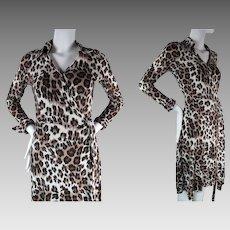 1970's Vintage Diane Von Furstenberg Leopard Print Jersey Wrap Dress