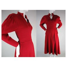 1970's Vintage Norma Kamali Crimson Red Jersey Wrap Dress