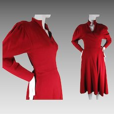 1970's Vintage Norma Kamali Crimson Red Jersey Wrap Dress
