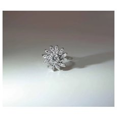 Delightful Vintage 14k White Gold Fine Diamond Pinwheel Ring