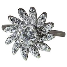 Delightful Vintage 14k White Gold Fine Diamond Pinwheel Ring
