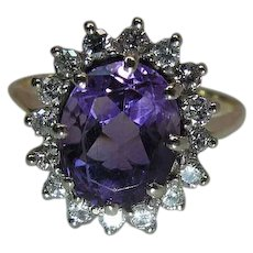 Vintage 14K Gold Amethyst And Diamond Halo Ring