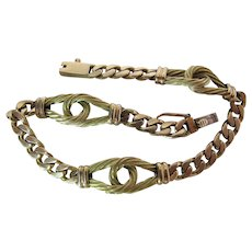 Fine Vintage 18K Green And Yellow Gold Station Bracelet