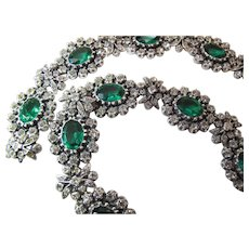 Striking Georgian Fine Silver And Green And White Paste Collar Necklace