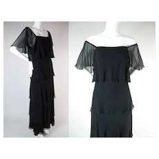 Fluttery 1970's Vintage Layered Black Chiffon Dress