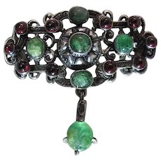 Antique Austro Hungarian Silver, Natural Emerald And Garnet Brooch / Pin