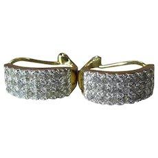 Glittering Vintage 14K Yellow Gold Diamond Clip Earrings