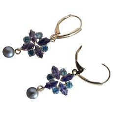 14K Yellow Gold Tanzanite, Amethyst, Blue Quartz And Cultured Pearl Dangle Earrings