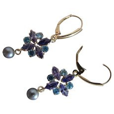 14K Yellow Gold Tanzanite, Amethyst, Blue Quartz And Cultured Pearl Dangle Earrings