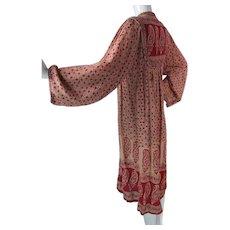 1960's Vintage Bohemian India Print Gauzy Cotton Dress