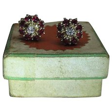 Vintage 14K Yellow Ruby And Diamond Post Earrings