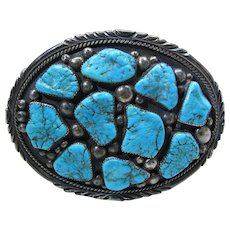 Huge Justin Morris Navajo Silver & Turquoise Buckle W/ Special Made Inscription