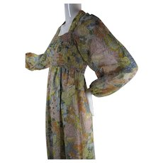 Summery & Romantic 1970's Printed Cotton Gauze Dress