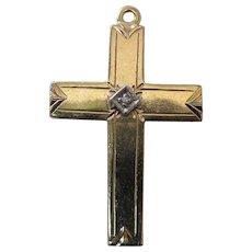 Heavy Vintage 14K Yellow Gold Diamond Cross 5.1 Grams