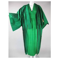 Beautiful 1970's Slubbed Silk Kaftan Maxi Dress And Coat Ensemble