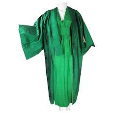 Beautiful 1970's Slubbed Silk Kaftan Maxi Dress And Coat Ensemble
