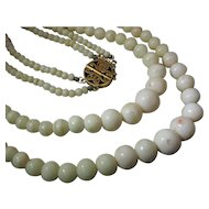 Antique Double Strand White Coral Bead Necklace With Decorative 14K Gold Clasp