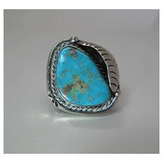 Vintage Navajo Sterling Silver And Fine Turquoise Ring