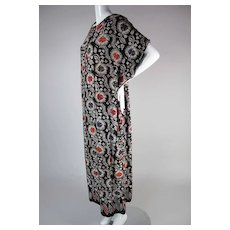 Graphic 1970's Vintage Batik Kaftan Dress With Aladdin Label