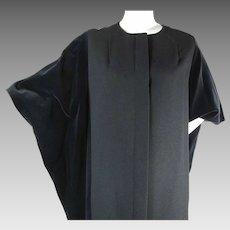 1970's Vintage Marimekko Design Research Kaftan Style Wool And Velvet Maxi Coat