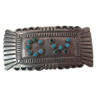 Vintage Navajo Sterling Silver And Turquoise Brooch / Pin